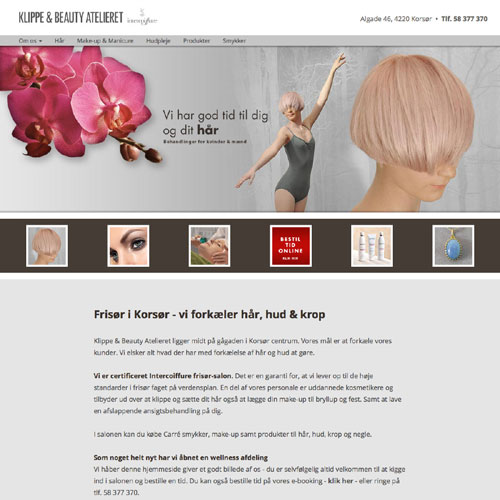 Responsiv hjemmeside for Klippe & Beauty Atelieret.