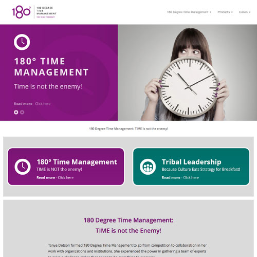 Responsiv hjemmeside for 108 Degee Time Management